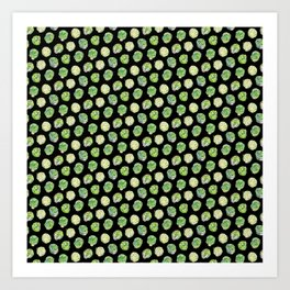 Brussel Sprouts Pattern Black Art Print