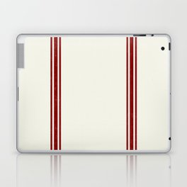 Red Stripes on Creme background French Grainsack Distressed Country Farmhouse Laptop & iPad Skin