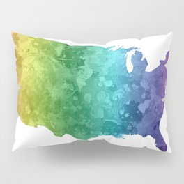 USA map in watercolor rainbow Pillow Sham