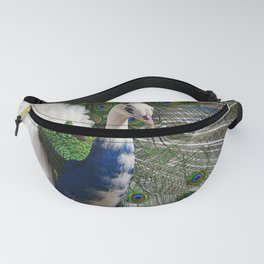 Blue White Peacock Fanny Pack