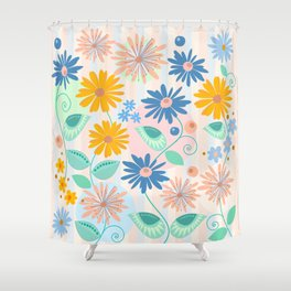 Decorative flowers and leaves Shower Curtain