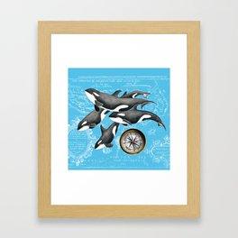 Orca Whales Pod Blue Compass Vintage Map Framed Art Print