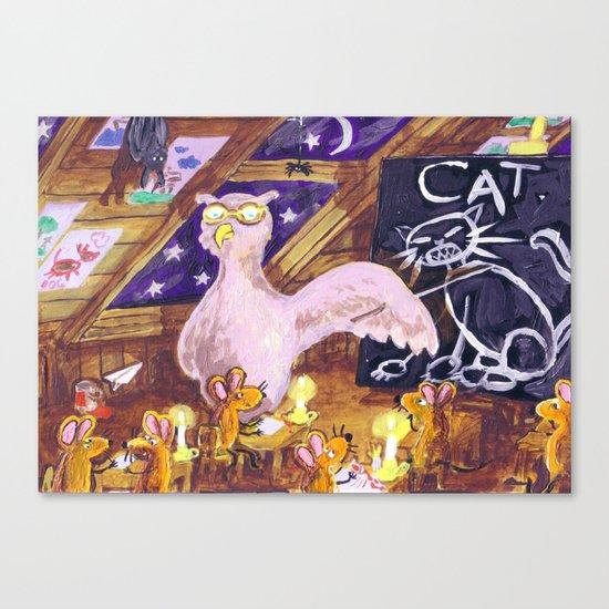 Class with Owl teacher Canvas Print
