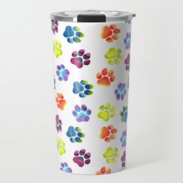 Rainbow Paw Print Pattern Travel Mug