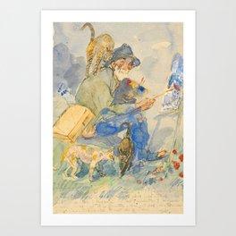 """Théophile Steinlen  """"Autoportrait aux chats"""" Art Print"""