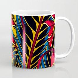 Jungle Glam Falling Leaves Blue Gold Coffee Mug