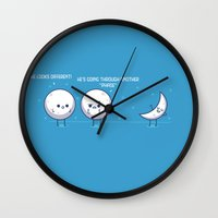 moon phase Wall Clocks featuring Phase by Azaikar