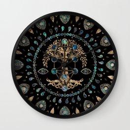 Kabbalah The Tree of Life Abalone and Gold Wall Clock
