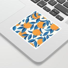 Oranges and blue leaves vintage illustration pattern Sticker