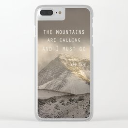 The Mountains are calling, and I must go.  John Muir. Vintage. Clear iPhone Case