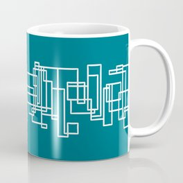Architecture Stripe - Minimalist Mid Century Modern Geometric Pattern in White and Deep Teal Blue Coffee Mug
