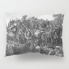 1896 Train Wreck, Buckeye Park in Lancaster, Ohio black and white photography / photograph Pillow Sham