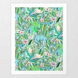 Improbable Botanical with Dinosaurs - soft pastels Art Print