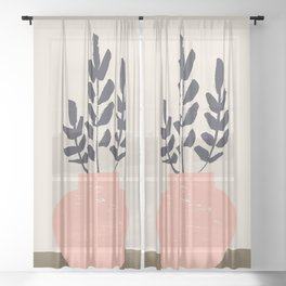 Olive Branches Sheer Curtain