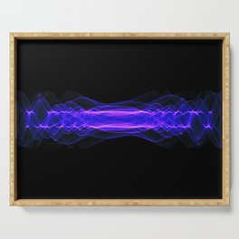 Plasma or high energy force concept. Blue-purple glowing energy waves on black Serving Tray