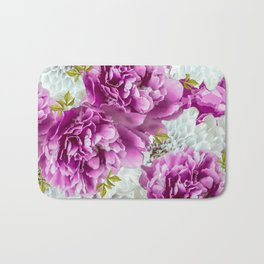 Summer bouquet of purple and white flowers - #Society6 #buyart Bath Mat