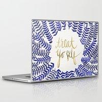 treat yo self Laptop & iPad Skins featuring Treat Yo Self – Gold & Navy by Cat Coquillette