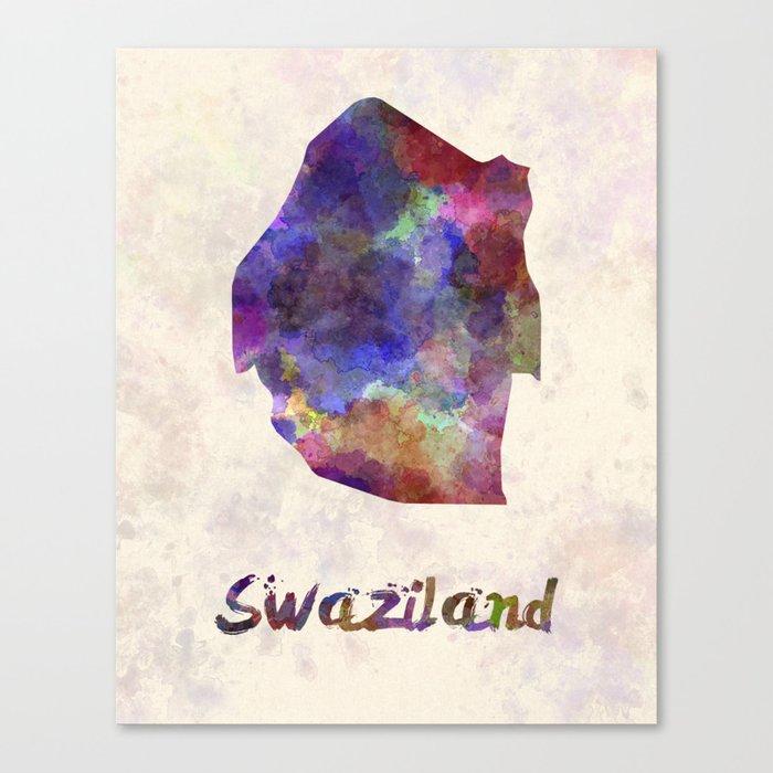 Swaziland in watercolor Canvas Print