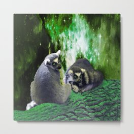 Lemurs on the Emerald Green Knolls Metal Print