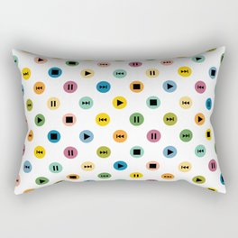 Music Player Icons Polka Dots (Multicolor on White) Rectangular Pillow