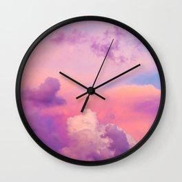 Pink Purple Clouds Wall Clock