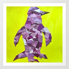 Penguin collage of paint samples Art Print