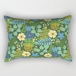 Tropical Blue and Yellow Floral Rectangular Pillow
