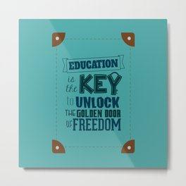 Lab No. 4 Education Is the Key George Washington Carver Inspirationa Quote Metal Print