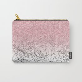 Elegant Floral Doodles Pink Gradient Glitter Image Carry-All Pouch
