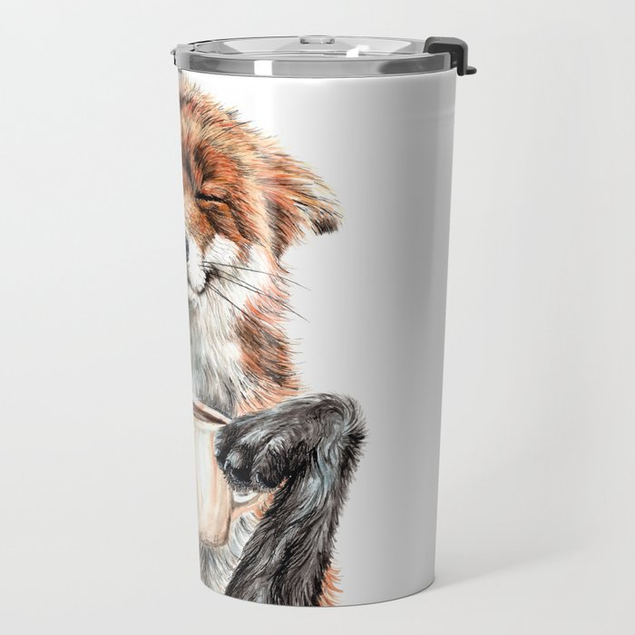 """ Morning fox "" Red fox with her morning coffee Travel Mug"