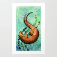 otter Art Prints featuring Otter by Georgia Roberts