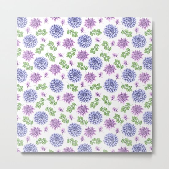Lavender Garden Pattern Metal Print