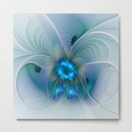 Standing Ovations, Abstract Blue Fractals Art Metal Print