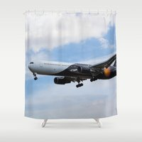 titan Shower Curtains featuring Titan Airways Boeing 767 by David Pyatt