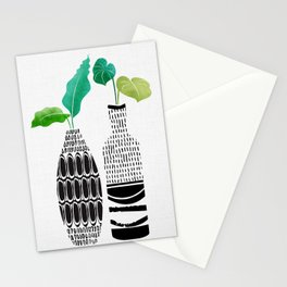 Tribal Vases II with Tropical Greenery Stationery Cards