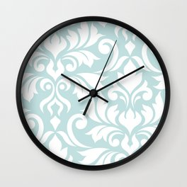 Flourish Damask Art I White on Duck Egg Blue Wall Clock
