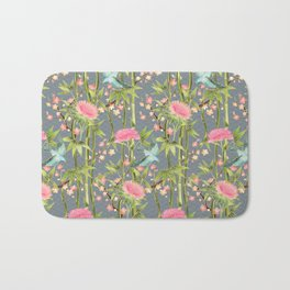 Bamboo, Birds and Blossom - grey Bath Mat