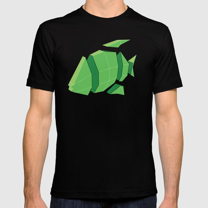 Illustration of a 3D Paper Craft Fish Model T-shirt