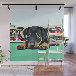 Doberman Puppy Guarding the Model Railroad Wall Mural