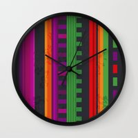 mexican Wall Clocks featuring Mexican Pattern by rusanovska