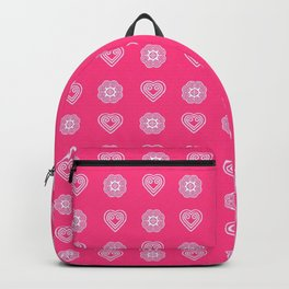 Pink heart and elephant Hmong symbols Backpack