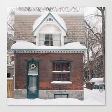 House & Snow Canvas Print