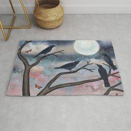 crows, moths, moon Rug