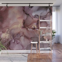Ink Swirls Painting Lavender Plum Gold Flow Wall Mural