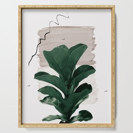 Fiddle Leaf Abstract - Naturelle #1 #minimal #wall #decor #art #society6 Serving Tray