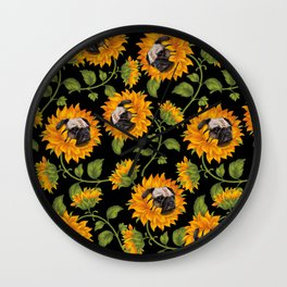 Pug Sunflowers Wall Clock