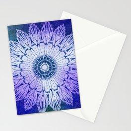 tie dye sunflower mandala in blues Stationery Cards