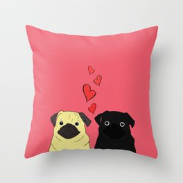 Pugs In Love Pink Throw Pillow