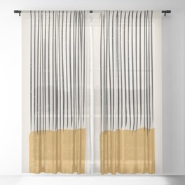 Mid Century Modern Minimalist Rothko Inspired Color Field With Lines Geometric Style Sheer Curtain