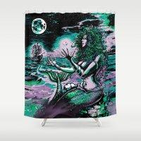 mythology Shower Curtains featuring Mermaid Siren Pearl of atlantis mythology by Scott Jackson Monsterman Graphic